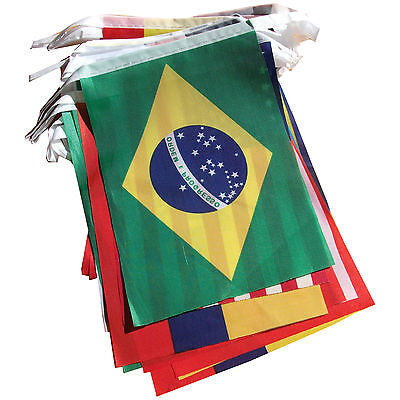 10X PA Brazil World Cup Fabric Bunting- All 32 Flags 9 Metres