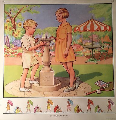 Vintage Macmillan School Poster 'What Time Is It' (29) circa 1940's / 50's