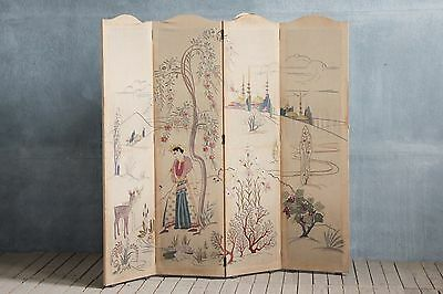 Antique Victorian Unusual Embroidered Room Divider Dressing Screen