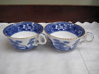 Antique/Vintage Copelands China Blue & White Large Tea Cups With Gilding