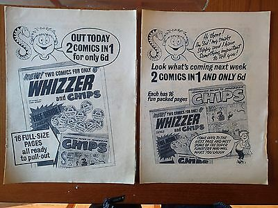 WHIZZER AND CHIPS comic FLYER for ISSUE 1 (x 2 flyers) 1969