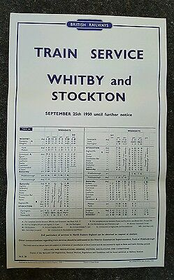 1950 British Rail original Timetable Poster Whitby /Stockton