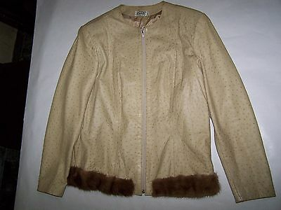 Giacca 100% Pelle Struzzo Ostrich Leather Jacket Made In Italy Tg 44
