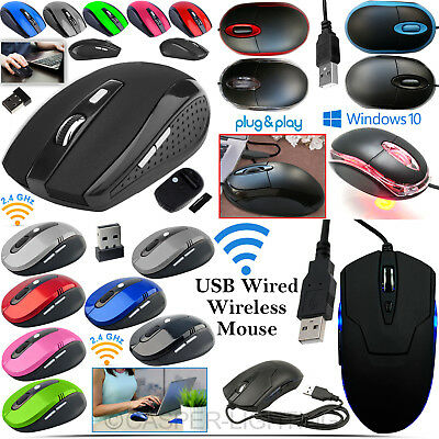 2.4GHZ USB Wired Wireless Cordless Optical Scroll PC Laptop Gaming Mouse Mice UK