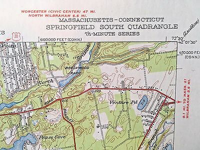 SPRINGFIELD MA TOPOGRAPHICAL MAP c1950 Connecticut River Forest Park Prison Farm