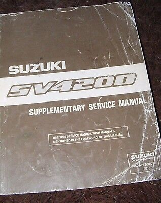 Suzuki Sv4200 Supplementary Service Manual  (Contents Listed) 1St Ed Oct 1996