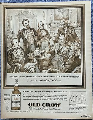 1957 Old Crow Whiskey Daniel Webster John H Morgan Mark Twain Henry Clay ad