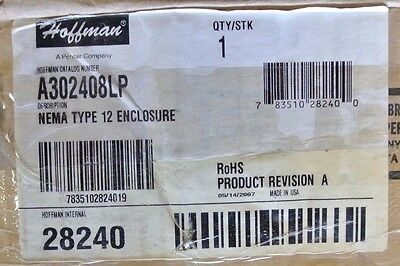 Hoffman A302408LP 30X24X08 Steel Nema 12 Enclosure NEW SURPLUS