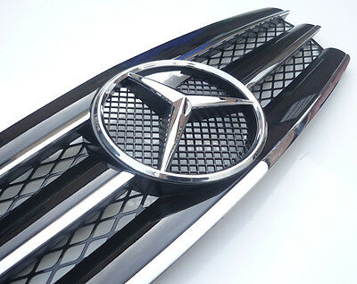 Black with Chrome 3 fin grill for Mercedes E class W211 2002-2006 with OEM star