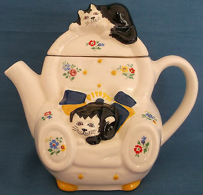 Vintage Wade Cats Armchair Ditzy Floral Feline Collection Teapot Judith Wootton