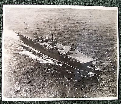 "Original Photograph US Navy USS Cabot WWII ""Ship's Store"" 1940s Aerial View"