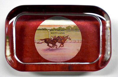 Heavy Glass Paperweight - Baltimore Maryland Race Track Scene