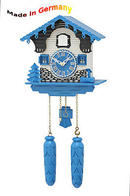 Modern Cuckoo Clock in Blue, from the Black Forest, Made in Germany, Gift Idea