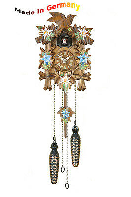 Quartz Cuckoo Clock, Black Forest,Night-Time Shut-Off,12 Melodies,Handpainted