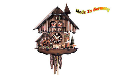 Cuckoo Clock 1-tw Music Dancer Black Forest Woman Rings the Bell Spinning
