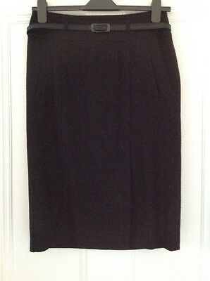 M&S Black Pencil Skirt With Front Split Size 12