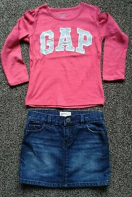 Girls Gap top and denim skirt age 3