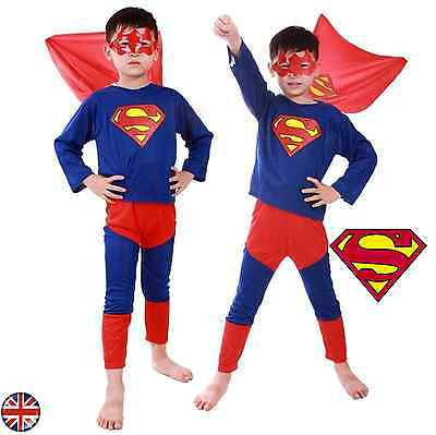 Boys Superman Costume Fancy Dress SuperHero Age 3-8 Years Outfit Suit