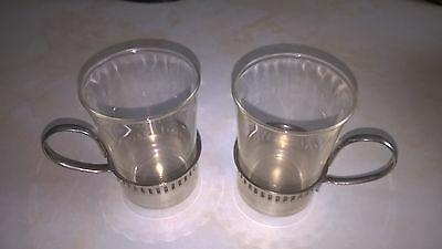 silver plated and glass coffee cups