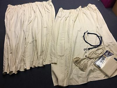 Lot 2 Pairs of Long Cream Curtains with Cream Tassle + Navy Rope Tie Backs - VR