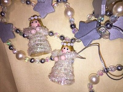 Vintage Christmas Tree Garland W/ Angels, Wood Stars, Silver Ribbons ,two 6' Str