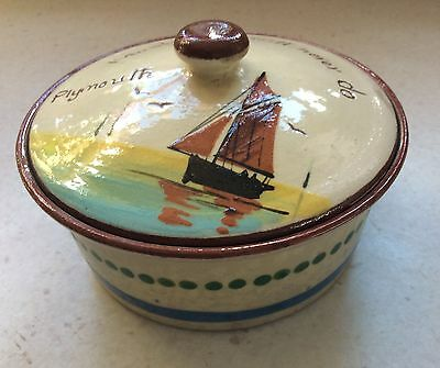 Vintage Devon Motto Ware Pottery Bowl with Lid marked:- Watcombe Torquay