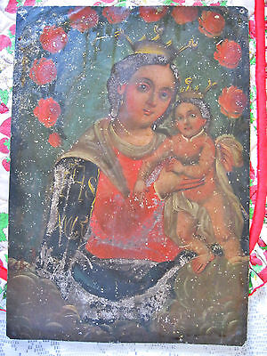 Original Antique Retablo On Tin With The Image Of Our Lady Of Refuge