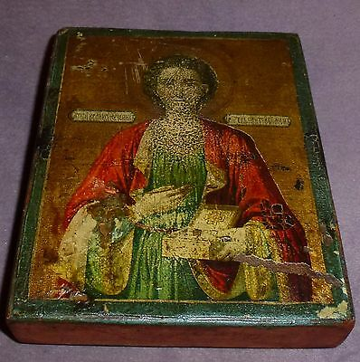 Early 19th Century Russian Wooden Icon well worn From a private collection