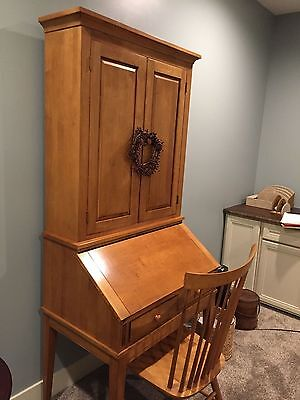 Ethan Allen Desk Secretary  with Cupboard and chair EXCELLENT COND.