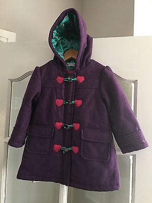 M&S Autograph Girls Purple Wool Duffle Coat 2-3 Years Great Condition