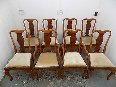 eight,walnut,queen anne style,dining chairs,cabriole legs,carvers,chairs,dining