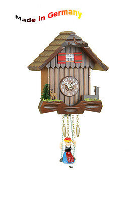 Miniature Rocking Clock, Nut, Quarz- O.Spring Movement, Made in Germany,
