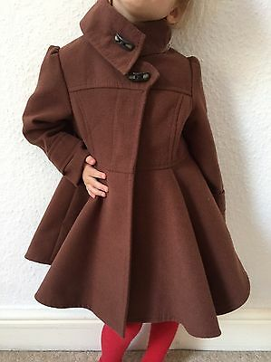 NEXT Girls Chocolate Brown Royal Princess Smart Coat Jacket Age 3-4