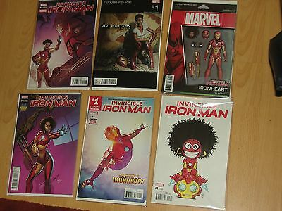 Invincible Iron Man Vol 3 1, + 5 x Variants 1st Solo Series starring Riri Willia