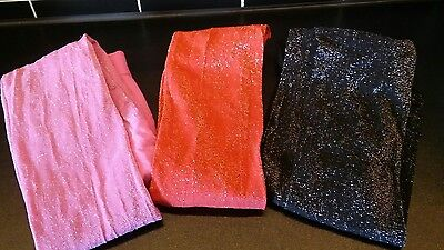 3 pairs of glittery glitter sparkly tights girls 7-8 years