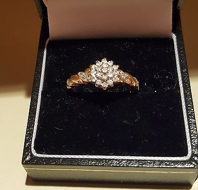 9 ct gold diamond cluster ring Size O