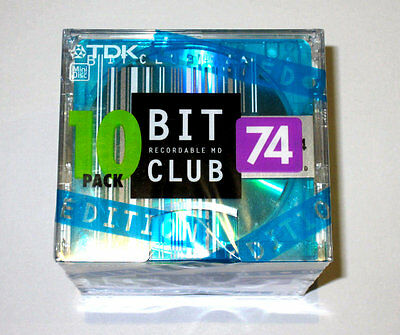Ten (10) minidisc TDK BIT CLUB Limited Edition MD 74 '2002 RARE (new and sealed)
