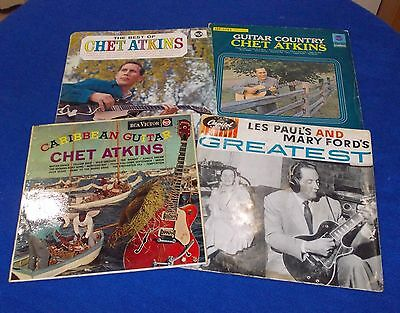 4 x Guitar LP Records~CHET ATKINS~LES PAUL~MARY FORD~Gibson Playing~Bargain 4 U