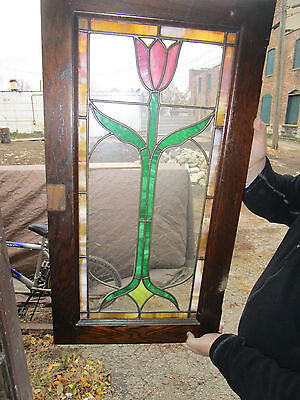Vintage Stained Glass Bungalow Cabinet Window 1 of 2