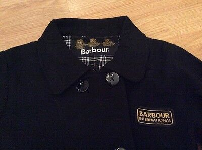 Girls Black Double Breasted Barbour winter coat size M Age 7/8 years