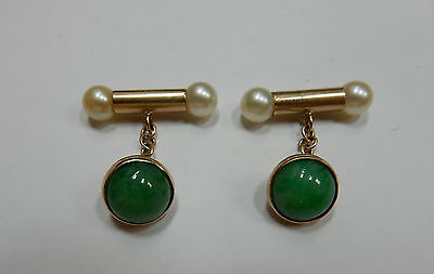 Cuff Links 14k Yellow Gold Apple Jade & Pearl ended Bars