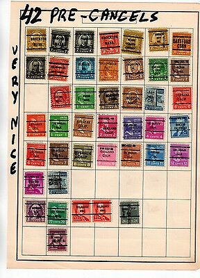 Us / 42 Pre-Cancelled Stamps For The Specialized Collector. Very Nice. !!! Add T
