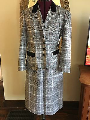 Vintage 80's MARTY GUTMACHER Plaid Skirt Suit Size 12