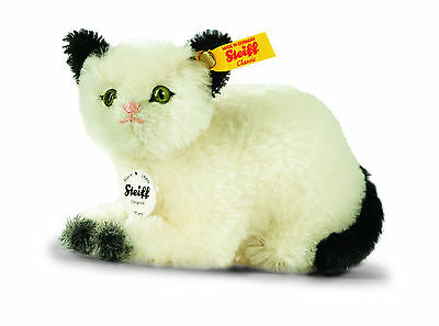 STEIFF KITTY CAT 6 inches 14 cm Black and White MOHAIR Store New