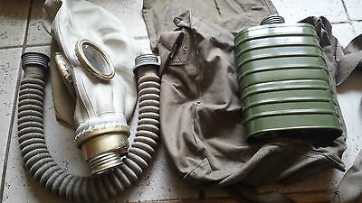 soviet 70 years old gas vintage masks with bag filter and tube