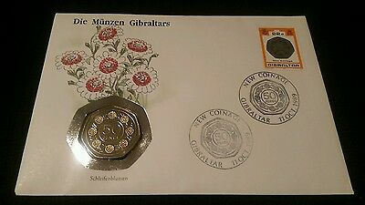 1989 Gibraltar Candy Tuft 50p Uncirculated coin cover.