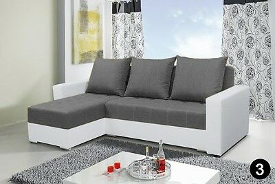 corner sofa bed storage grey fabric white faux leather left right, new design!