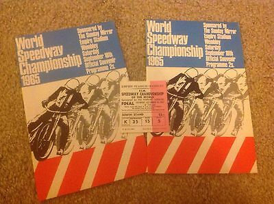 2 World Speedway Championship 1965 Programmes Plus Ticket