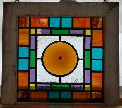 Arts and crafts rondell leaded stained glass window 1