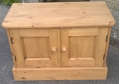 Pine 2 Door Small Storage Cupboard - Hand Made All Solid -  Waxed Finish